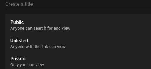 Screenshot of YouTube Live Privacy Settings