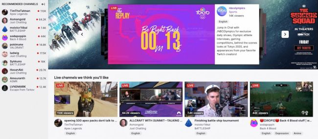 Above the fold website example from Twitch.tv