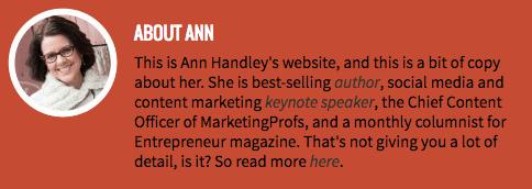 Ann Handley's professional bio on her personal website