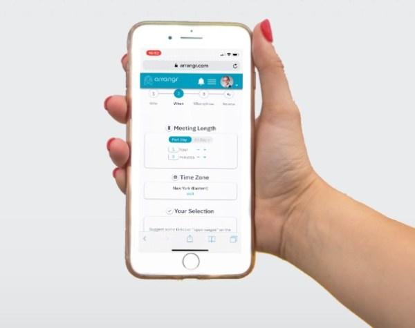 arrangr meeting scheduler interface on mobile