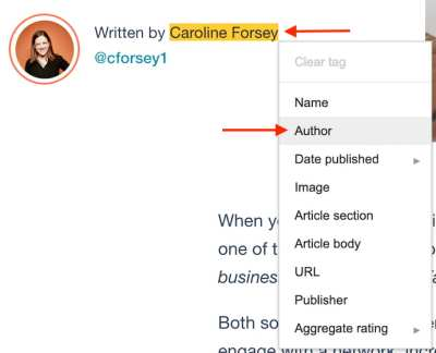 Author tag created using Google's Structured Data Markup Helper