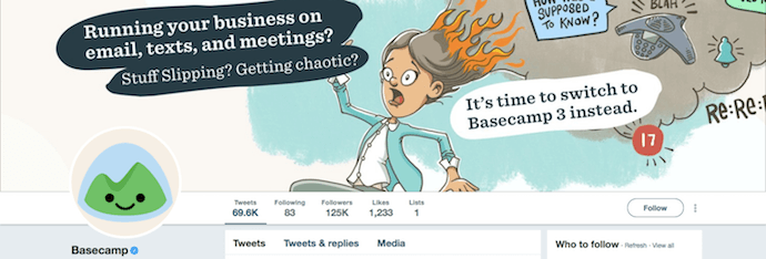 Funny Twitter header image by Basecamp