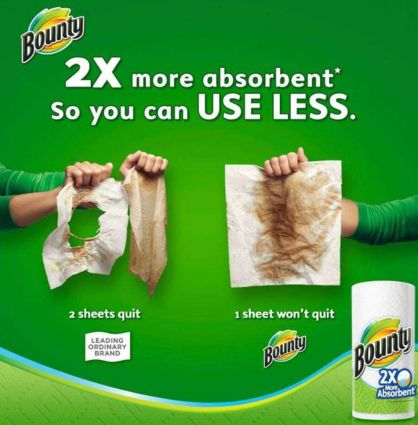 "bounty paper towel comparative advertisement that reads ""2x more absorbent so you can use less."""