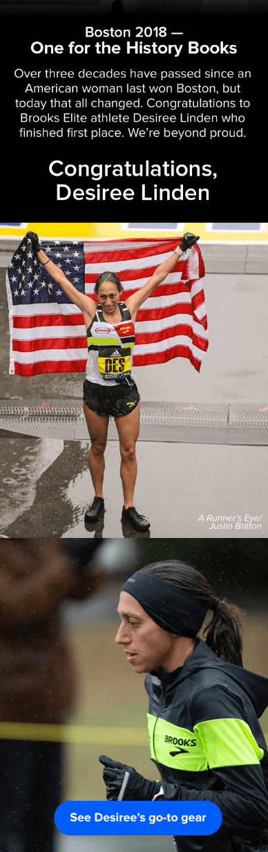 Email marketing campaign on Desiree Linden's 2018 Boston Marathon victory by Brooks Sports