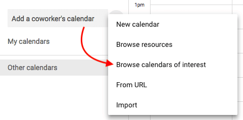 Dropdown menu option to browse calendars of interest