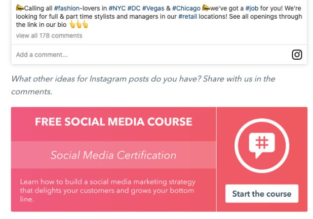 Blog post about Instagram with a CTA at the bottom of the post