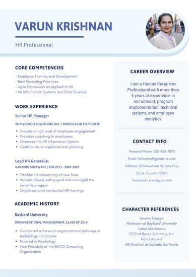 corporate hr professional resume