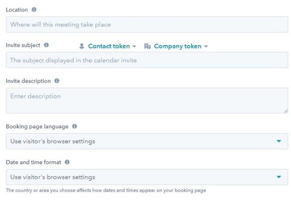 screenshot of meetings tool to configure meeting in hubspot