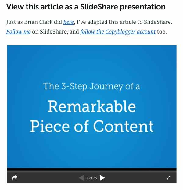 repurpose blog post into a slideshare presentation example
