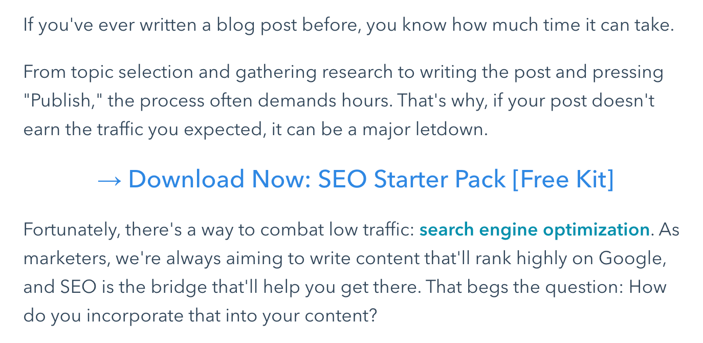 example of seo starter pack cta in a hubspot blog post