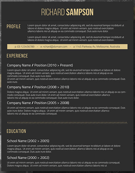 Dark resume template with black background and yellow font