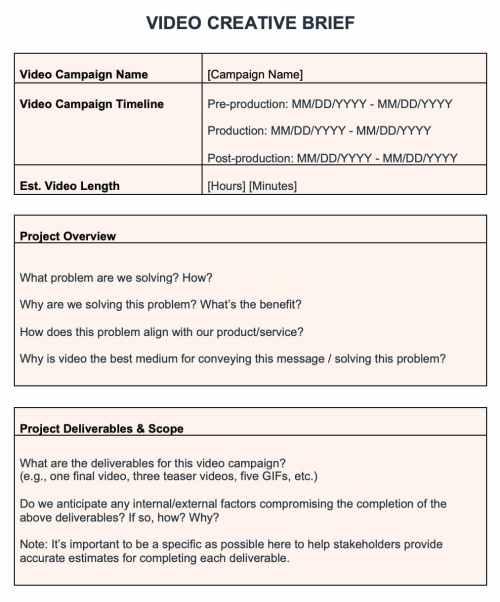 HubSpot video creative brief template
