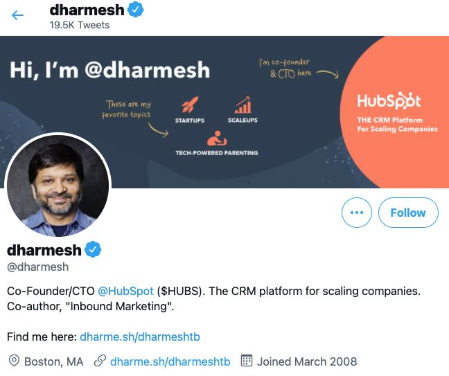 Darmesh Shah's professional background on Twitter