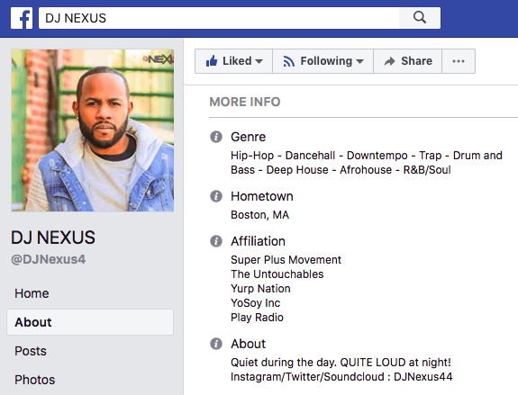 DJ Nexus's professional bio on Facebook