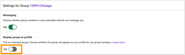 the settings interface for a linkedin group