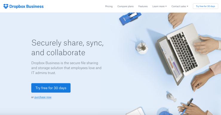 Dropbox homepage web design