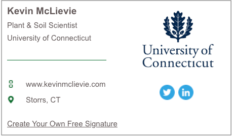email signature for Kevin McLievie of University of Connecticut generated with HubSpot's Email Signature Generator