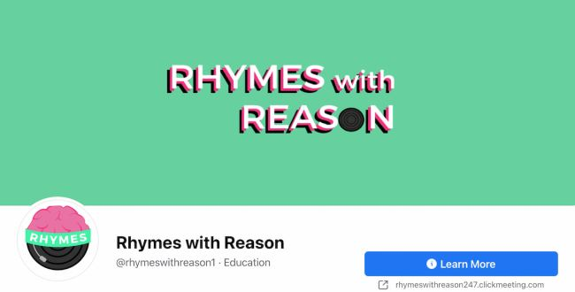 Facebook Page cover from Rhymes with Reason's FB Page