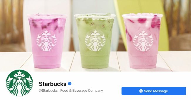 Facebook Page cover from Starbucks' FB Page