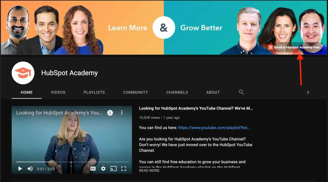 hubspot academy youtube channel sign up link CTA