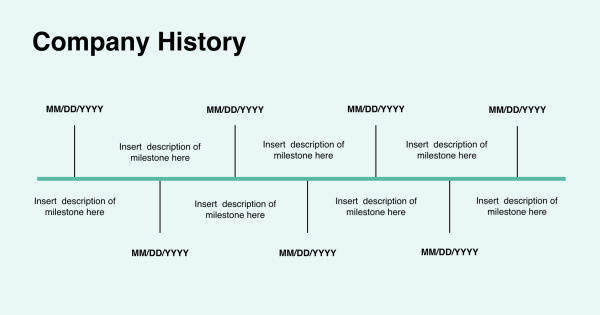 Company history on profile template
