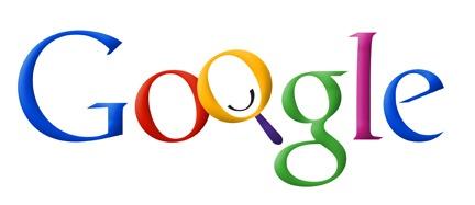 Vroege herhaling van het Google-logo waarbij de O een vergrootglas is met een smiley