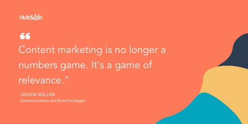 Content marketing tip by Jason Miller: