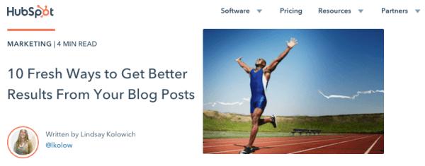 Blog che utilizza un post basato su elenco.