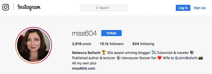 Miss604's professional bio on Instagram