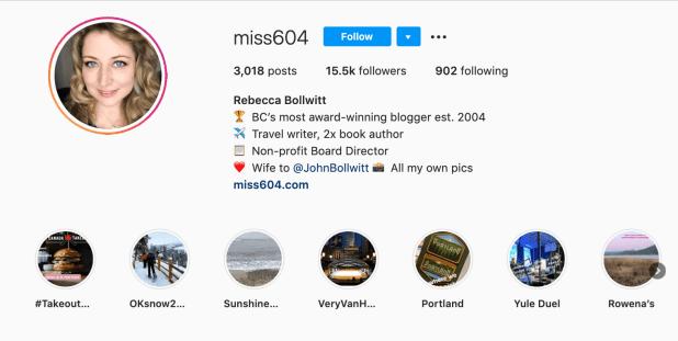 miss604 professional bio on Instagram