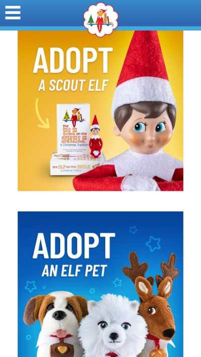 mobile website design: elf on the shelf homepage