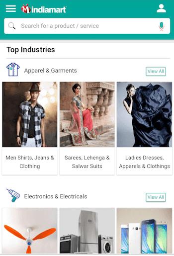 mobile website design: indiamart homepage