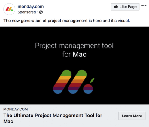 Facebook photo ad by Monday.com