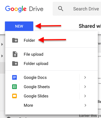 How to create a folder in Google Drive