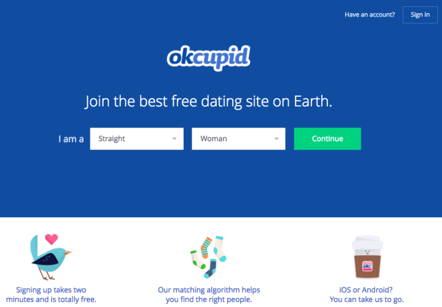 OKCupid signup call to action button