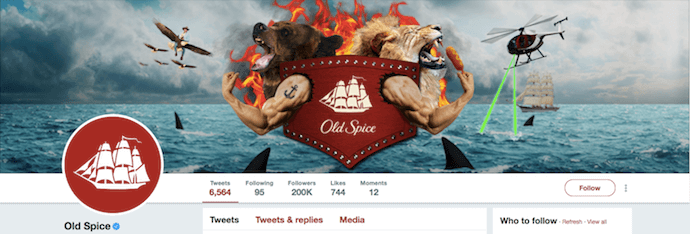 Funny Twitter header image by Old Spice