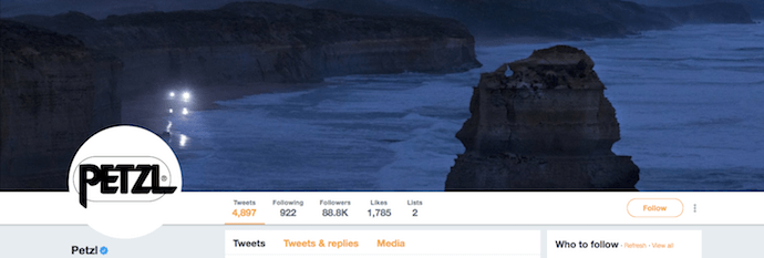 Cool Twitter header image by Petzl