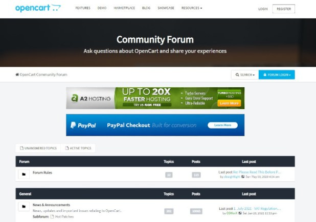 phpbb forum example at opencart