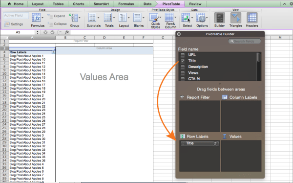 Adding row labels to a pivot table in Excel