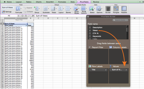 Adding values to a pivot table in Excel