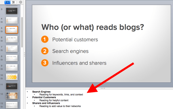 PowerPoint slides with notes.