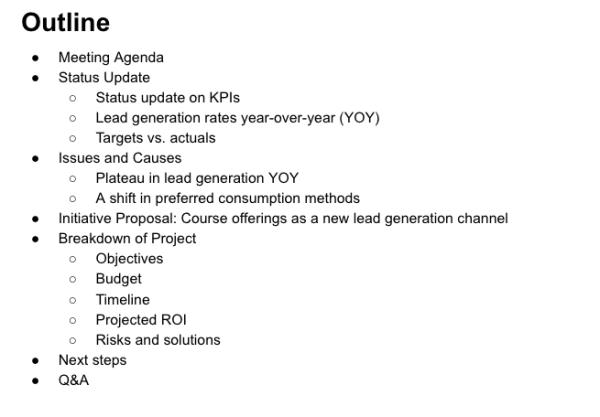 Presentation outline example