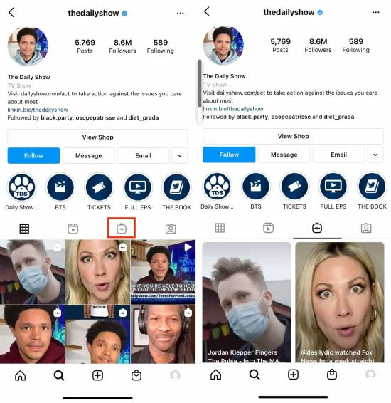 IGTV video posts tab on The Daily Show's instagram profile