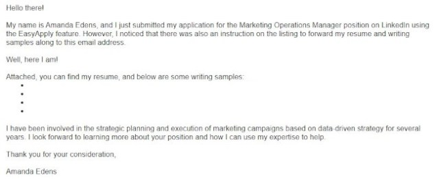 short cover letter example from Amanda Edens with bullet points and breezy language