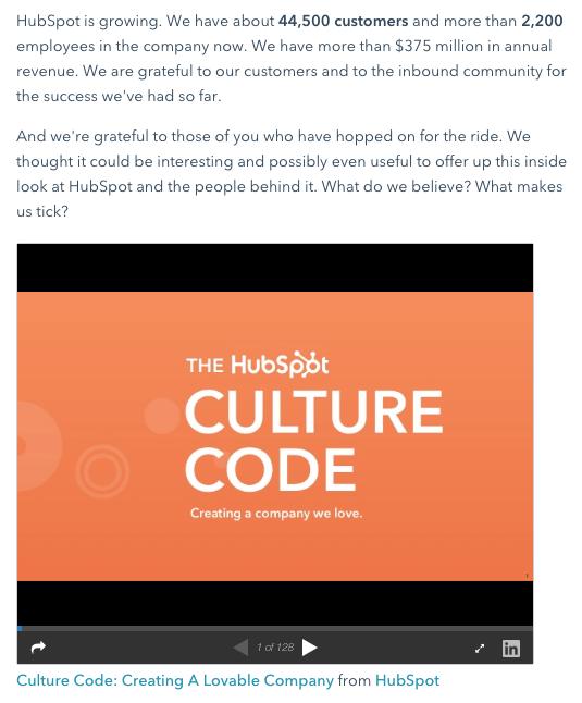 Esempio di post sul blog di HubSpot che promuove una presentazione di Slideshare