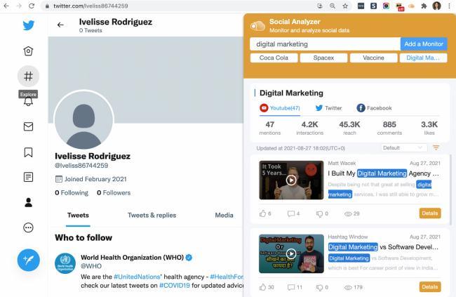 SocialAnalyzer Chrome extension