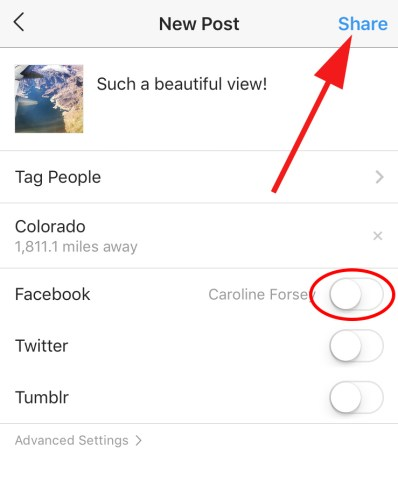 How to use share settings and publish a post on Instagram
