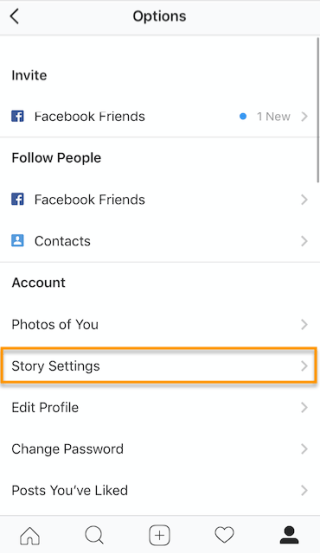 Story Settings button on Instagram