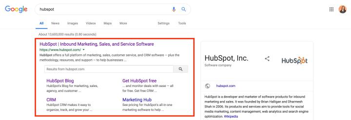 structured data sitelinks searchbox google example hubspot