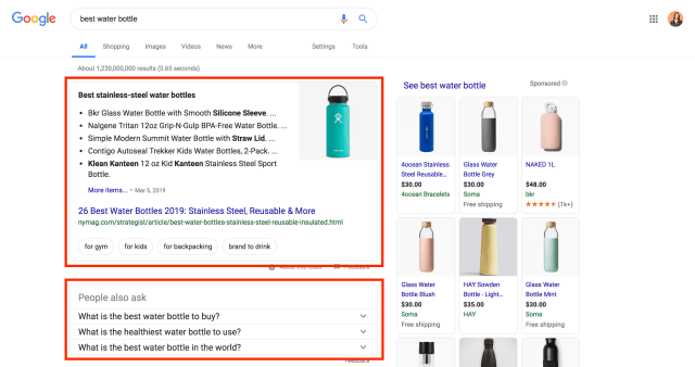 structured data featured snippet google example stainless steel water bottles